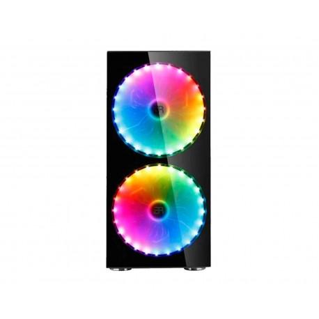 Gabinete Balam Rush Kraken color Negro RGB Atx S/Fuente de Cristal Templado 2x200 mm