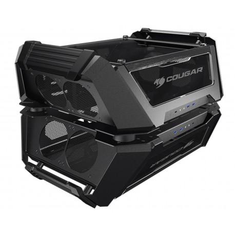 Gabinete Dual Cougar Gemini X color Negro de Aluminio y Cristal Templado