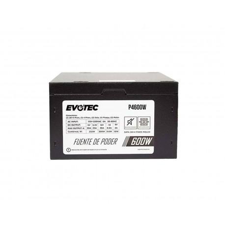 Fuente de Poder Evotec P4600w color Negro 600 W Sata X2 Molex X2 4 Pin X1 20 más 4 Pin X1