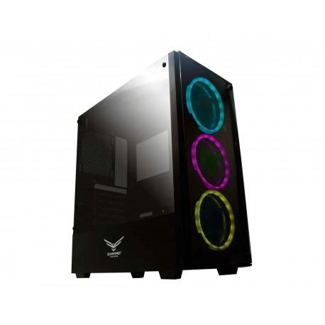 Gabinete Naceb Evotec Player Led Atx S/fuente Cristal Na-0603 color Negro