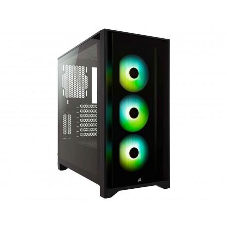 Gabinete Corsair Icue 4000x Rgb Atx Cristal Miditower Cc-9011204-ww S/fuente color Negro