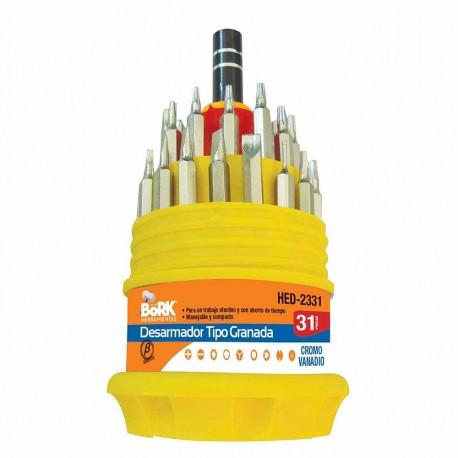 Desarmador Granada 30 Puntas Bork Hed-2331 color Plateado Intercambiables