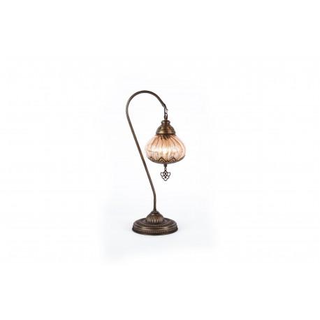 Lámpara Turca Artesanal modelo Pyrex para Mesa o Buró color Beige
