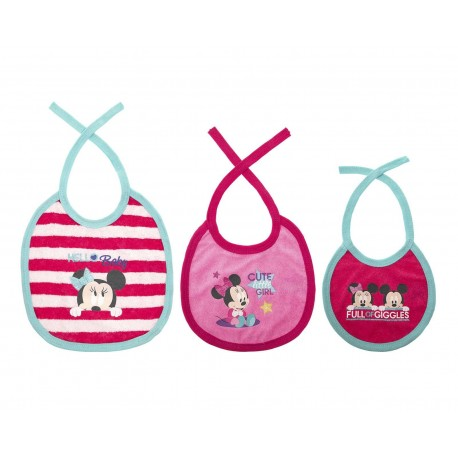 Baberos Rosas marca Disney Minnie Mouse para Bebé Niña (3 Piezas)
