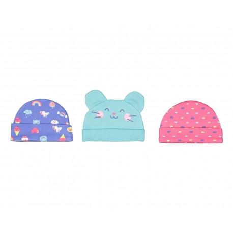 Gorros marca Baby colors para Bebé Niña (3 piezas)