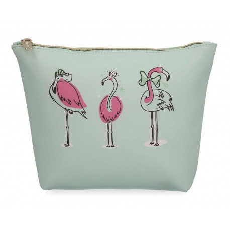 Cosmetiquera Startravel Flamingo Verde